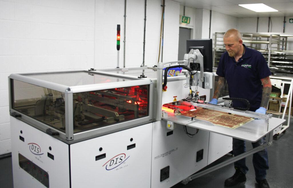 Operator using machine